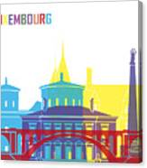 Luxembourg Skyline Pop Canvas Print