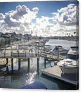 Luxury Boats Moored At Naples Island, Long Beach, Ca Canvas Print