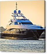 Luxury Yacht On Golen Sunset Canvas Print