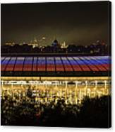 Luzhniki Stadium At Summer Night Against The Background Of The Ministry Of Foreign Affairs, The Cath Canvas Print