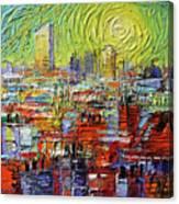 Lyon Sunrise Glow - Modern Impressionist Stylized Cityscape Canvas Print