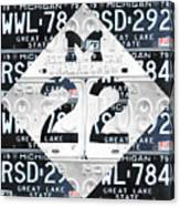 M22 Michigan Highway Symbol Recycled Vintage Great Lakes State License Plate Logo Art Canvas Print