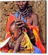 Maasai Grandmother And Child Canvas Print