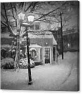 Mablehead Market Square Snowstorm Old Town Evening Black And White Painterly Canvas Print