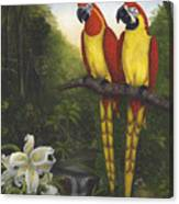 Macaws And Lillies Canvas Print
