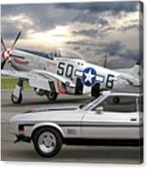 Mach 1 Mustang With P51  Canvas Print