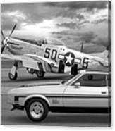 Mach 1 Mustang With P51 In Black And White Canvas Print