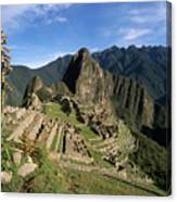 Machu Picchu And Bromeliad Canvas Print