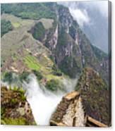 Machu Picchu And Fog Canvas Print