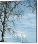 Mackinac Bridge Birch Canvas Print