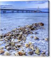 Mackinac Bridge From The Beach Canvas Print