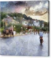 Mackinac Island Michigan Bikes And Horses Pa 01 Canvas Print
