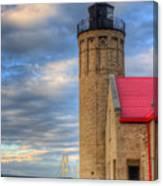 Mackinac Lighthoue And Bridge Canvas Print