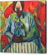 Madame Bear In A Chair Canvas Print