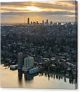 Madison Park And The Seattle Skyline Canvas Print