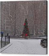 Madison Square Park In The Snow At Christmas Canvas Print