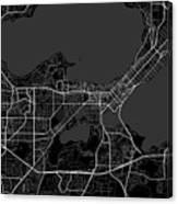 Madison Wisconsin Usa Dark Map Canvas Print