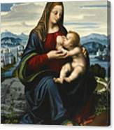 Madonna And Child Before A Landscape Canvas Print