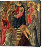 Madonna And Child Enthroned With Angels And Saints Canvas Print