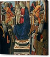 Madonna And Child Enthroned With Saints And Angels Canvas Print