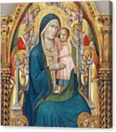Madonna And Child Enthroned With Twelve Angels Canvas Print