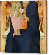 Madonna And Child Enthroned With Two Cherubim                                Canvas Print