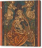 Madonna And Child Seated On A Grassy Bank With Angels Canvas Print