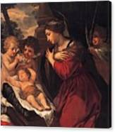 Madonna And Child With Child And Angles Canvas Print