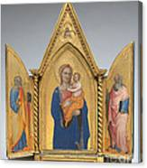 Madonna And Child With Saint Peter And Saint John The Evangelist [middle Panel] Canvas Print