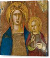 Madonna And Child With Two Angels Canvas Print