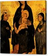 Madonna In Gloria Between Saint Francis And Santa Chiara Gentile Canvas Print