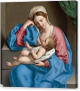 Madonna With The Infant Christ Child Holding A Goldfinch On A String  Canvas Print