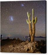 Magellanic Clouds And Forked Cactus Incahuasi Island Bolivia Canvas Print