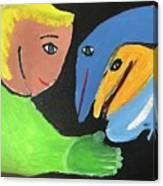 Magical Encounter Between A Boy And Creatures Of The Sea Canvas Print