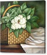 Magnolia Basket Canvas Print