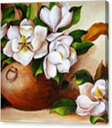Magnolias In A Clay Pot Canvas Print