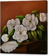 Magnolias On A Table Canvas Print