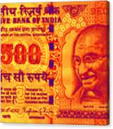 Mahatma Gandhi 500 Rupees Banknote Canvas Print