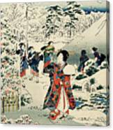 Maids In A Snow Covered Garden Canvas Print