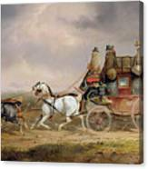 Mail Coaches On The Road - The Louth-london Royal Mail Progressing At Speed Canvas Print