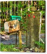 Mailbox On The Rural Country Road Canvas Print