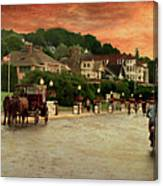 Main Street Mackinac Island Michigan Panorama Textured Canvas Print