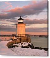 Maine Bug Light Lighthouse Snow At Sunset Canvas Print