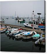 Maine Falmouth Boat Landing On Misty Morning Panorama Canvas Print