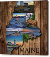 Maine Lighthouses Collage Canvas Print
