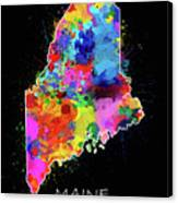 Maine Map Color Splatter 2 Canvas Print
