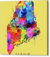 Maine Map Color Splatter 4 Canvas Print