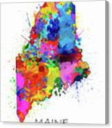 Maine Map Color Splatter Canvas Print