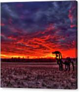 Majestic Red Clouds Winter Sunset The Iron Horse Art Canvas Print