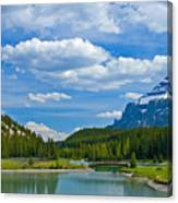 Majestic View At Cascade Ponds - Canadian Rockies Canvas Print